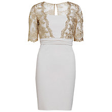 Buy Gina Bacconi Moss Crepe Dress, Antique Gold Online at johnlewis.com