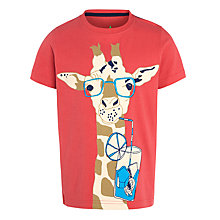 Buy John Lewis Boy Cool Giraffe T-Shirt, Red Online at johnlewis.com