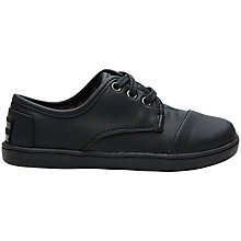 Buy TOMS Paseo Leather Look Plimsolls, Black Online at johnlewis.com