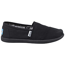 Buy TOMS Childrens' Canvas Alpargata School Shoes, Black Online at johnlewis.com