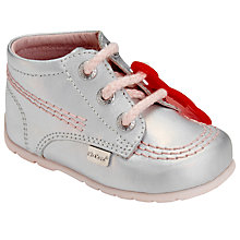 Buy Kickers Zippy Leather Shoes, Silver Online at johnlewis.com