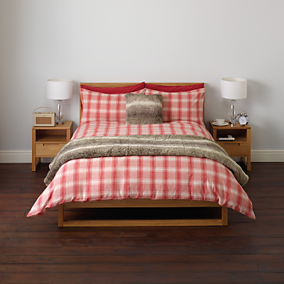 John Lewis Brushed Cotton Check Duvet Cover and Pillowcase Set