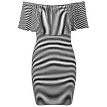 Buy Miss Selfridge Stripe Ruffle Dress, Black/White Online at johnlewis.com