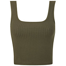 Buy Miss Selfridge Ribbed Square Neck Vest, Khaki Online at johnlewis.com