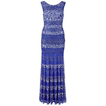 Buy Gina Bacconi Floor Length Beaded Dress, Dark Violet Online at johnlewis.com