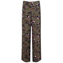 Buy Miss Selfridge Falling Flower Wide Trousers, Khaki/Multi Online at johnlewis.com