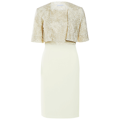 Gina Bacconi Moss Crepe Dress With Gold Floral Embroidery Bodice And Jacket, Lemon Drizzle