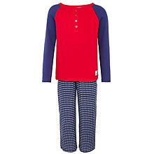 Buy John Lewis Boy Henley & Star Pyjama Set, Red/Blue Online at johnlewis.com