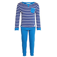 Buy John Lewis Boys' Stripe Top Pyjamas, Blue Online at johnlewis.com