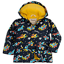Buy Hatley Boys' Space Cars Hooded Rain Jacket, Navy/Yellow Online at johnlewis.com