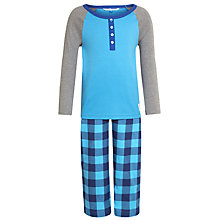 Buy John Lewis Boy Chequered Bottom Pyjamas, Blue Online at johnlewis.com