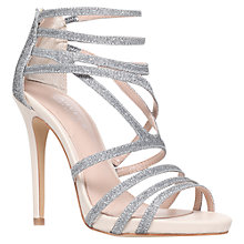 Buy Carvela Gismo Strappy Stiletto Sandals, Silver Fabric Online at johnlewis.com