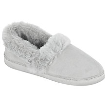 Buy John Lewis Comfort Microsuede Faux Fur Slippers, Grey Online at johnlewis.com