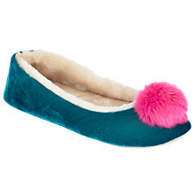 Buy John Lewis Velvet Pom Pom Ballerina Slippers Online at johnlewis.com