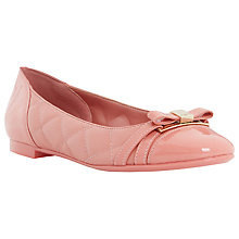 Buy Dune Herminey Bow Detail Leather Ballerina Pumps, Pink Online at johnlewis.com