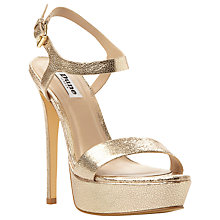 Buy Dune Michaela Platform Barely There Court Heels, Metallic Gold Online at johnlewis.com