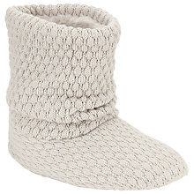 Buy John Lewis Knitted Boot Slippers, Grey Online at johnlewis.com