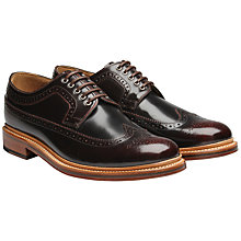 Buy Grenson Sid Long Wing Leather Brogue Derby Shoes, Burgundy Online at johnlewis.com