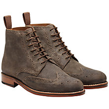 Buy Grenson Sharp Suede Brogue Derby Boots, Dark Brown Online at johnlewis.com