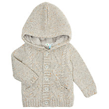Buy John Lewis Baby's Cable Knit Hooded Cardigan, Grey Online at johnlewis.com