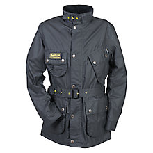 Buy Barbour International Slim Waxed Jacket, Black Online at johnlewis.com