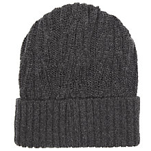Buy John Smedley Peaks Chunky Cable Knit Beanie Hat, One Size, Charcoal Online at johnlewis.com