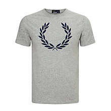 Buy Fred Perry Chambray Logo T-Shirt, Vintage Steel Marl Online at johnlewis.com