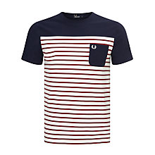 Buy Fred Perry Pique Stripe T-Shirt, Blue Granite Online at johnlewis.com