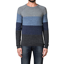 Buy Diesel Calib Stripe Crew Neck Jumper, Blue/Grey Online at johnlewis.com