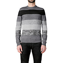 Buy Diesel Mayall Tonal Stripe Jumper, Black/Grey Online at johnlewis.com
