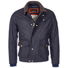 Buy Barbour Column Wax Jacket, Navy Online at johnlewis.com