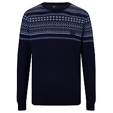 Buy Fred Perry Winter Fair Isle Crew Neck Jumper, Navy Online at johnlewis.com