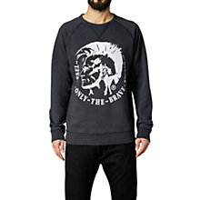 Buy Diesel Logo Print Sergej Sweatshirt, Dark Grey Online at johnlewis.com