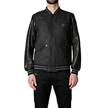 Buy Diesel Danny Tiger Leather Baseball Jacket, Black Online at johnlewis.com