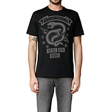 Buy Diesel Newyn Snake Print T-Shirt, Black Online at johnlewis.com