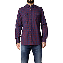 Buy Diesel Sulf Check Cotton Shirt, Burgundy Online at johnlewis.com