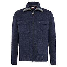 Buy Barbour International Burn Full-Zip Lambswool Jumper, Navy Online at johnlewis.com