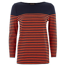 Buy Jaeger Breton Striped Top, Navy / Red Online at johnlewis.com