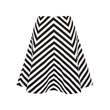 Buy Karen Millen Graphic Striped Flared Skirt, Black/White Online at johnlewis.com