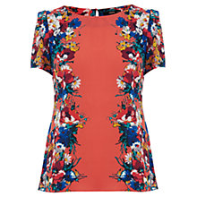 Buy Oasis Brushed Bloom Top, Multi Orange Online at johnlewis.com