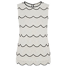 Buy Oasis Crochet Lace Shell Top, Off White Online at johnlewis.com