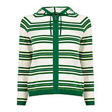 Buy Karen Millen Hooded Striped Cardigan, Green Online at johnlewis.com