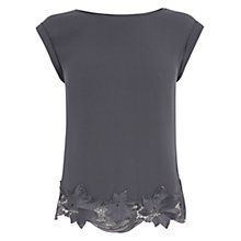 Buy Oasis Lace Hem T-Shirt, Dark Grey Online at johnlewis.com