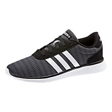 Buy Adidas Lite Racer Trainers, Black/Grey Online at johnlewis.com