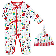 Buy John Lewis Baby's London Christmas Sleepsuit, White Online at johnlewis.com