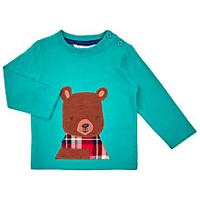 Buy John Lewis Baby's Bear Face Long Sleeve T-Shirt, Green Online at johnlewis.com