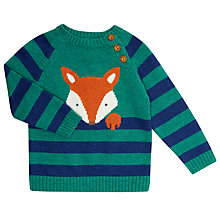Buy John Lewis Baby's Fox Striped Jumper, Green/Blue Online at johnlewis.com