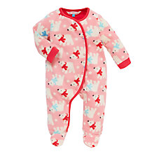 Buy John Lewis Baby Polar Bear Fleece Playsuit, Pink Online at johnlewis.com