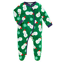 Buy John Lewis Baby's Snowman Playsuit, Green Online at johnlewis.com
