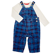 Buy John Lewis Baby's Check Cord Dungaree Set, Blue Online at johnlewis.com